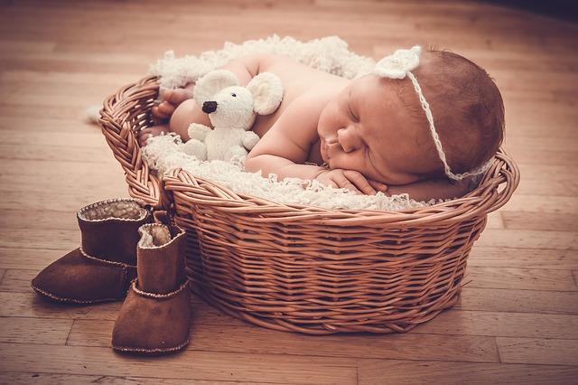 un bebe dans un panier