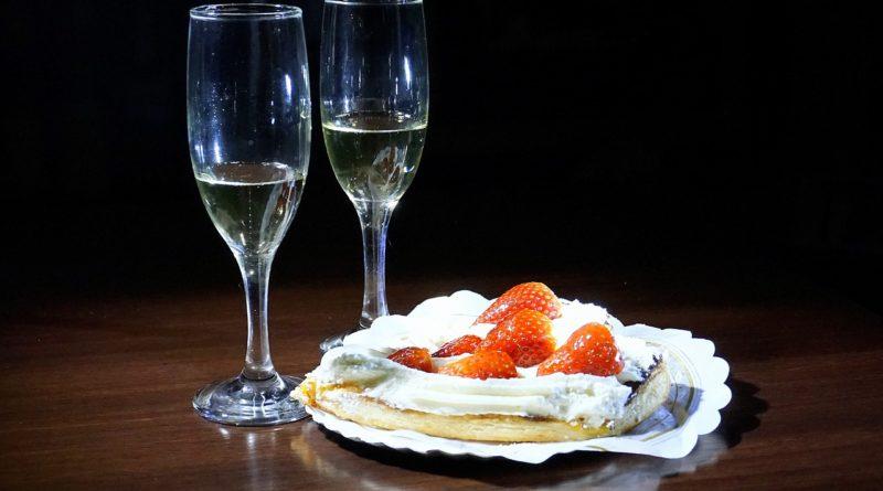 dessert avec champagne