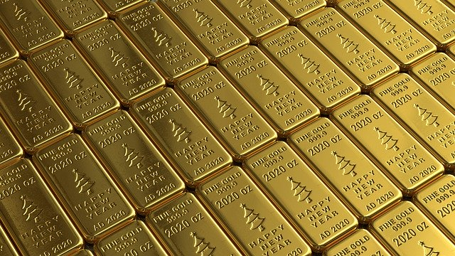 une plaque de lingots d'or