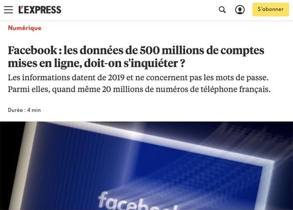 énorme piratage Facebook